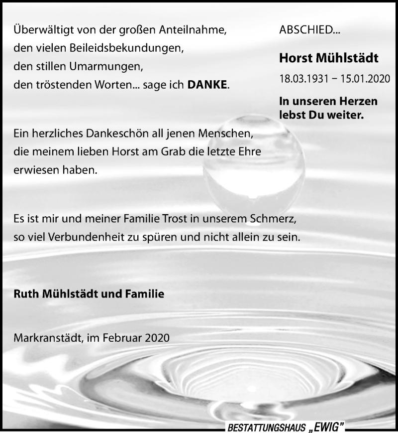 Traueranzeige für Horst Mühlstädt vom 07.03.2020 aus Leipziger Volkszeitung