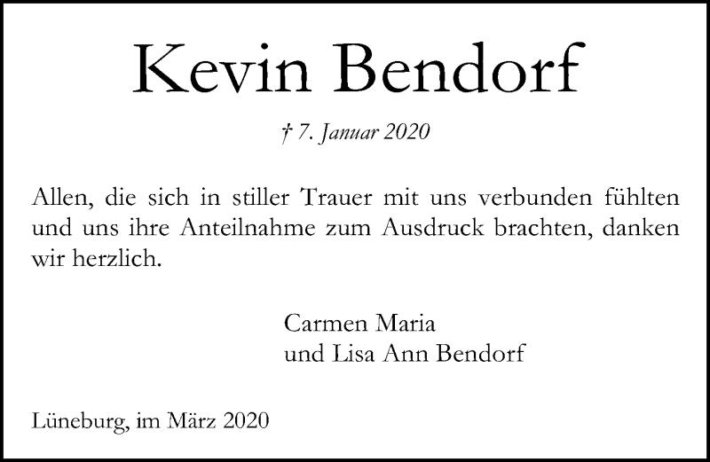 Traueranzeige für Kevin Bendorf vom 07.03.2020 aus Leipziger Volkszeitung