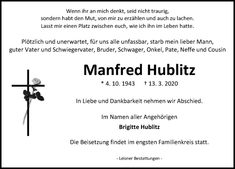 Traueranzeige von  Manfred Hublitz