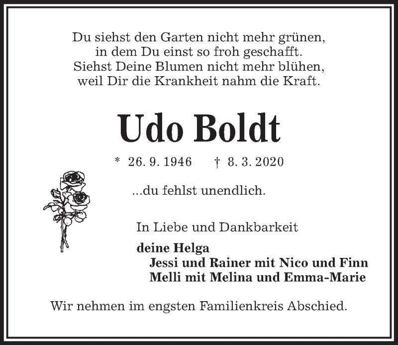 Traueranzeige für Udo Boldt vom 14.03.2020 aus Kieler Nachrichten