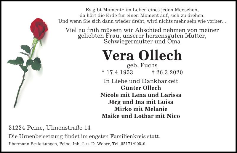 Traueranzeige für Vera Ollech vom 28.03.2020 aus Peiner Allgemeine Zeitung