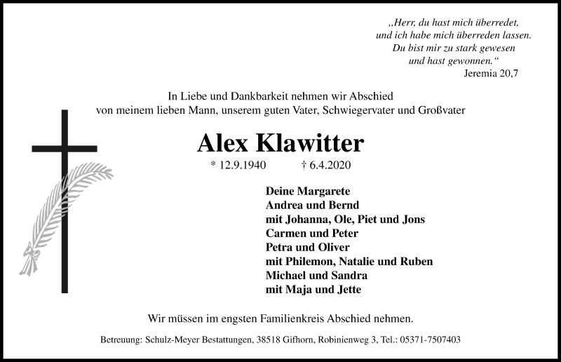 Traueranzeige von  Alex Klawitter