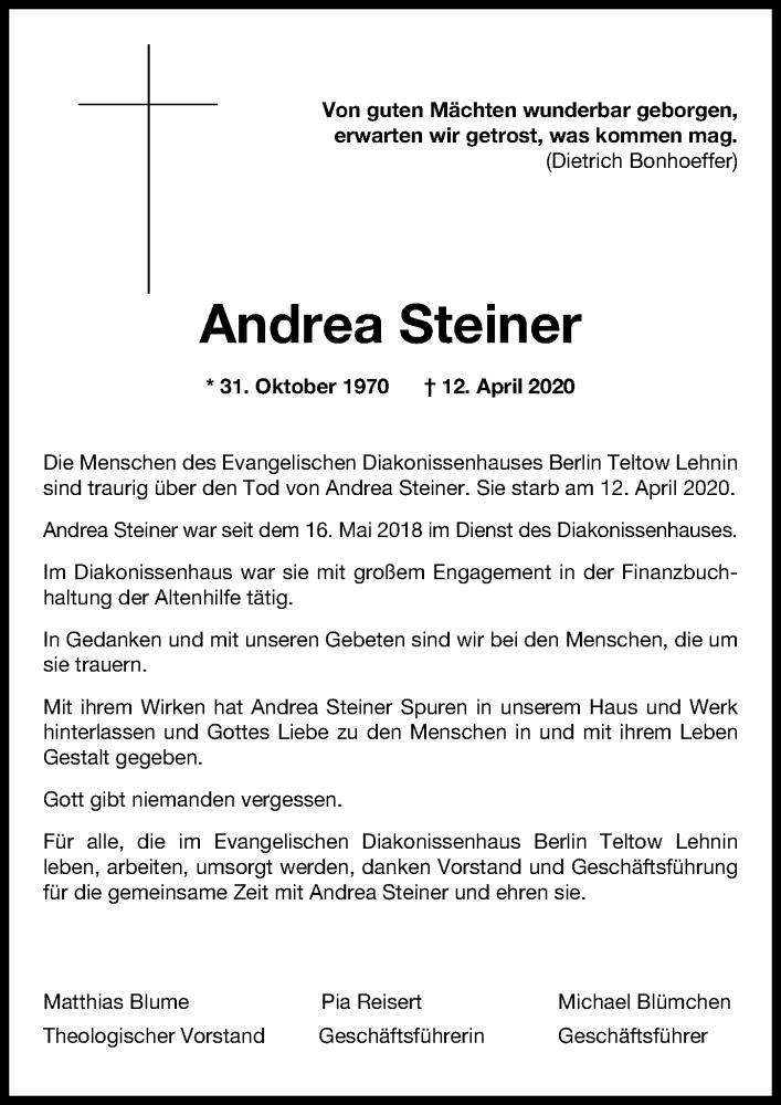 Traueranzeige für Andrea Steiner vom 18.04.2020 aus Märkischen Allgemeine Zeitung