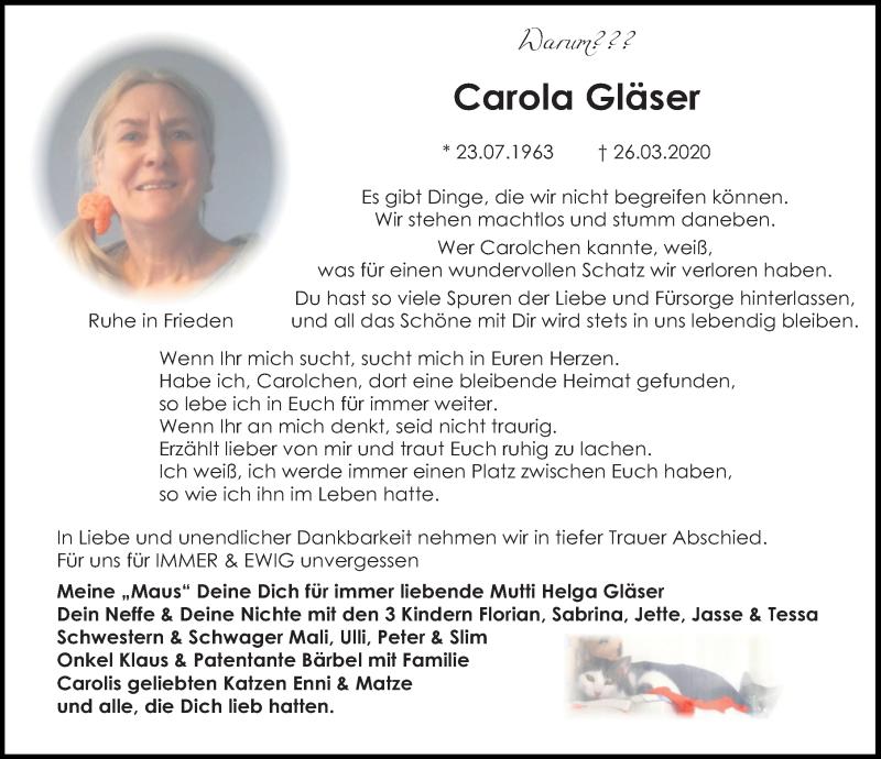 Traueranzeige für Carola Gläser vom 16.04.2020 aus Aller Zeitung