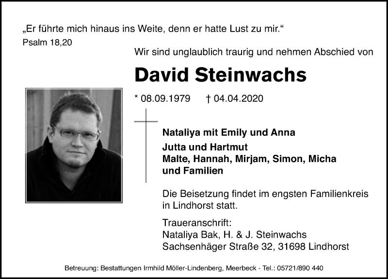 Traueranzeige von  David Steinwachs