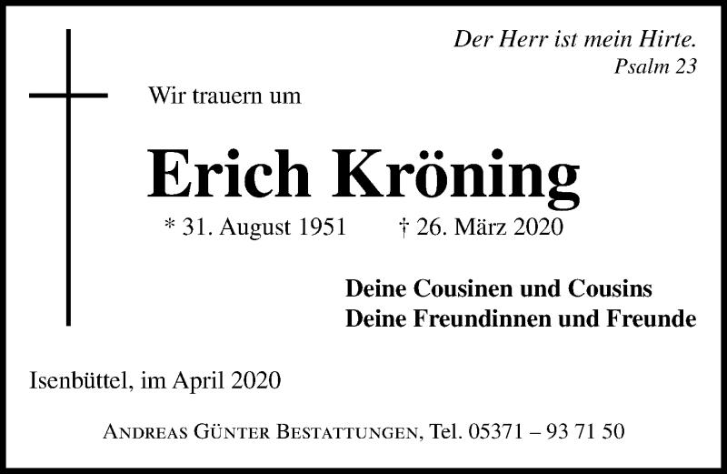 Traueranzeige für Erich Kröning vom 04.04.2020 aus Aller Zeitung