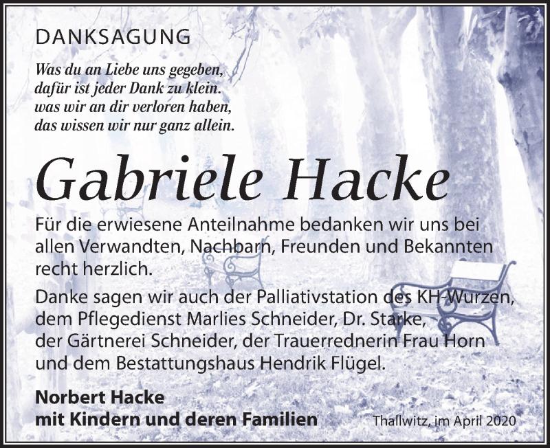 Traueranzeige für Gabriele Hacke vom 11.04.2020 aus Leipziger Volkszeitung