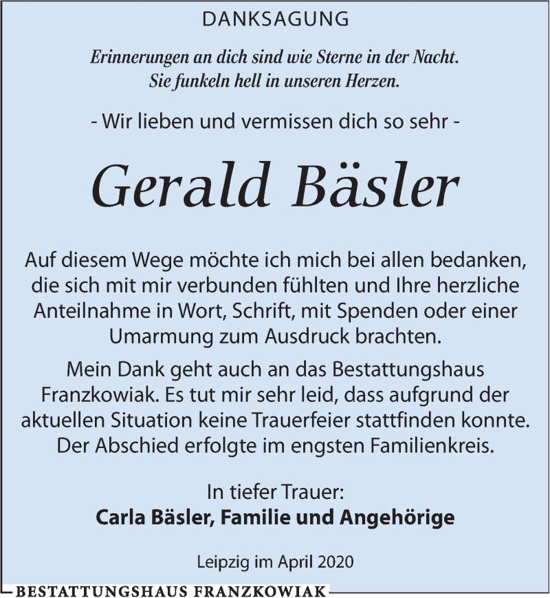 Traueranzeige für Gerald Bäsler vom 11.04.2020 aus Leipziger Volkszeitung