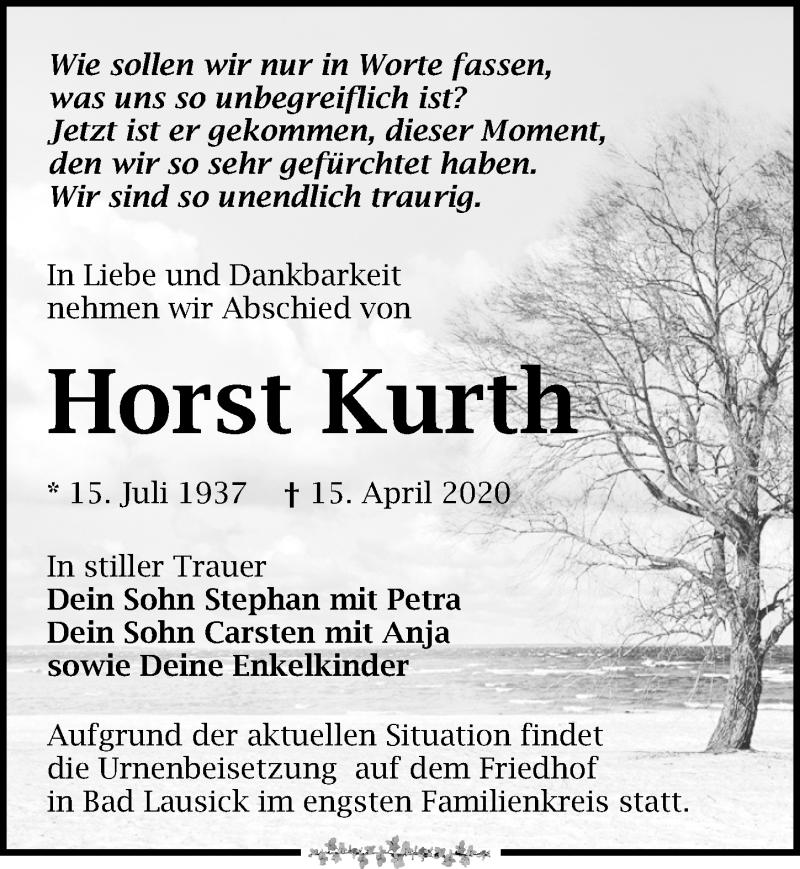 Traueranzeige für Horst Kurth vom 25.04.2020 aus Leipziger Volkszeitung