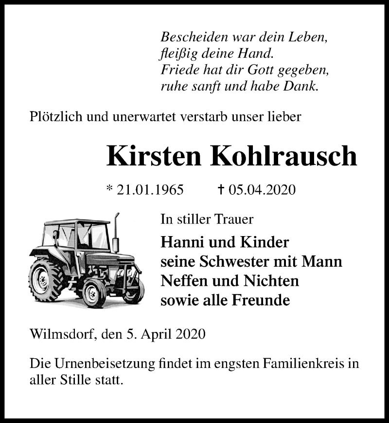Traueranzeige von  Kirsten Kohlrausch
