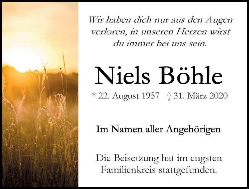 Traueranzeige für Niels Böhle vom 19.04.2020 aus Lübecker Nachrichten