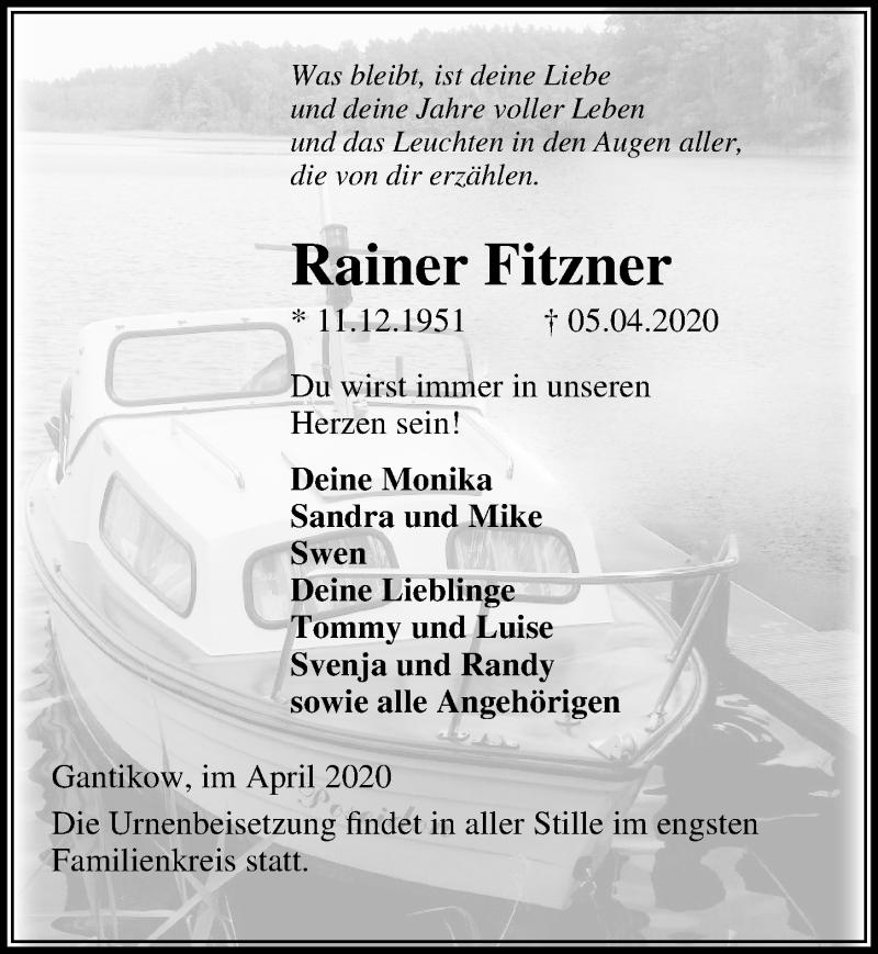 Traueranzeige von  Rainer Fitzner
