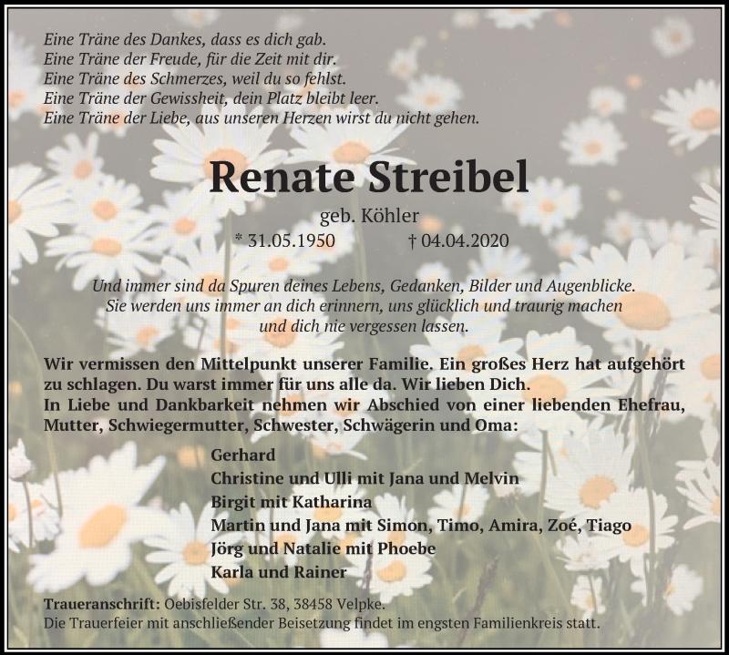 Traueranzeige von  Renate Streibel
