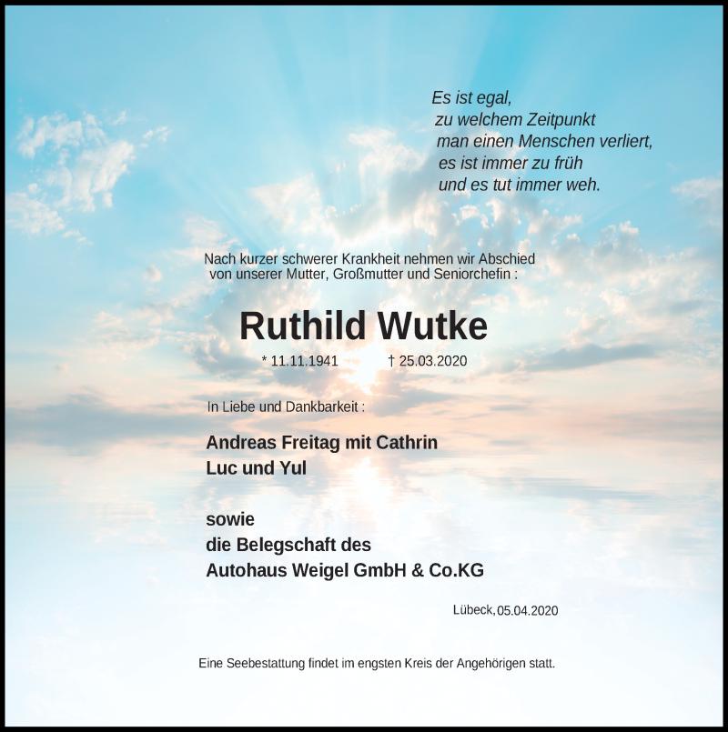 Traueranzeige von  Ruthild Wutke