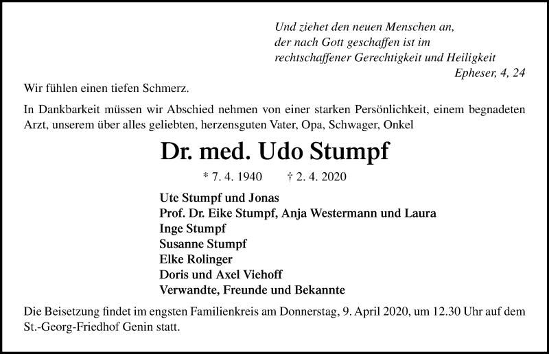 Traueranzeige von  Udo Stumpf