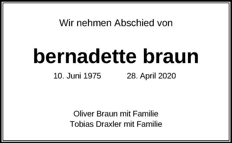 Traueranzeige für Bernadette Braun vom 23.05.2020 aus Kieler Nachrichten