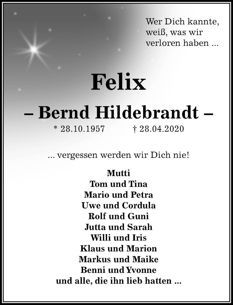 Traueranzeige für Bernd Hildebrandt vom 09.05.2020 aus Peiner Allgemeine Zeitung