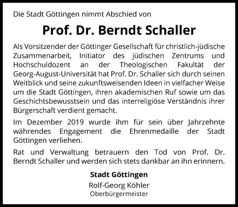 Traueranzeige für Berndt Schaller vom 06.05.2020 aus Göttinger Tageblatt