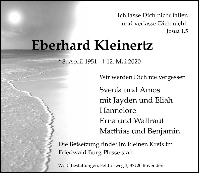 Traueranzeige für Eberhard Kleinertz vom 16.05.2020 aus Göttinger Tageblatt