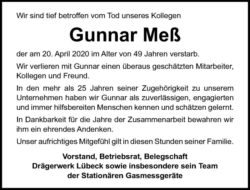 Traueranzeige für Gunnar Meß vom 17.05.2020 aus Lübecker Nachrichten