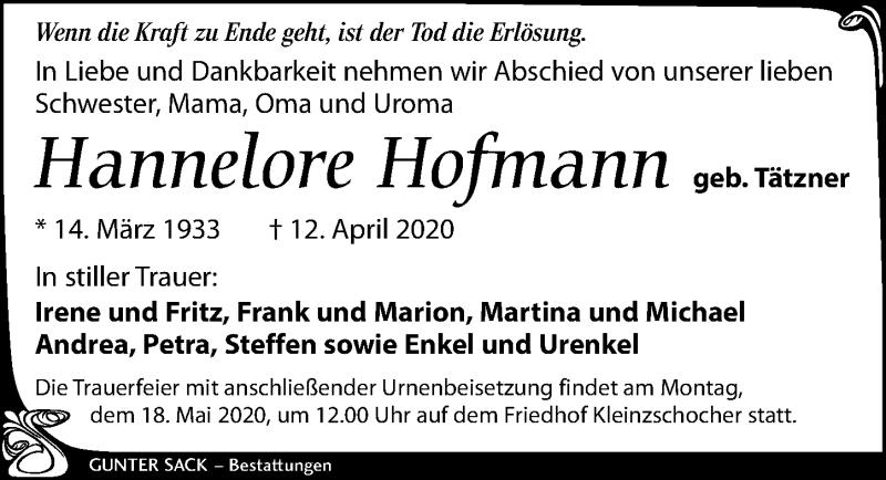 Traueranzeige für Hannelore Hofmann vom 02.05.2020 aus Leipziger Volkszeitung