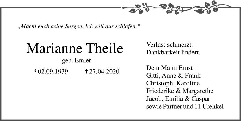 Traueranzeige für Marianne Theile vom 02.05.2020 aus Ostsee-Zeitung GmbH