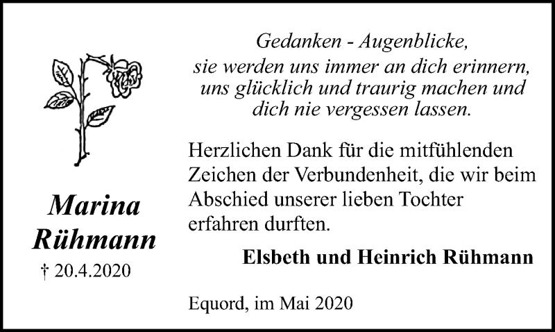 Traueranzeige für Marina Rühmann vom 30.05.2020 aus Peiner Allgemeine Zeitung