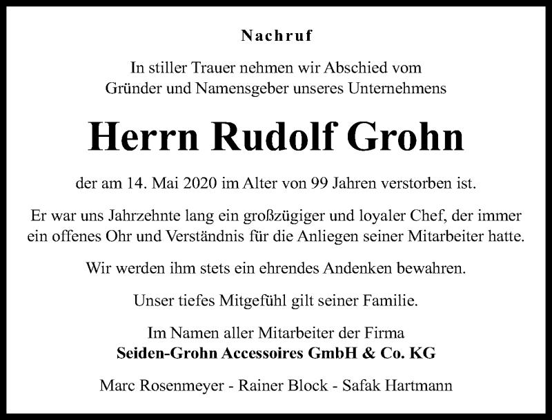 Traueranzeige für Rudolf Grohn vom 30.05.2020 aus Hannoversche Allgemeine Zeitung/Neue Presse
