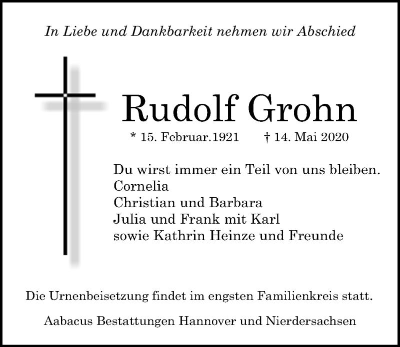 Traueranzeige für Rudolf Grohn vom 23.05.2020 aus Hannoversche Allgemeine Zeitung/Neue Presse