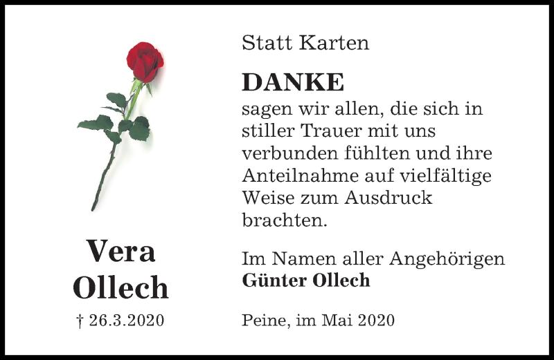 Traueranzeige für Vera Ollech vom 02.05.2020 aus Peiner Allgemeine Zeitung