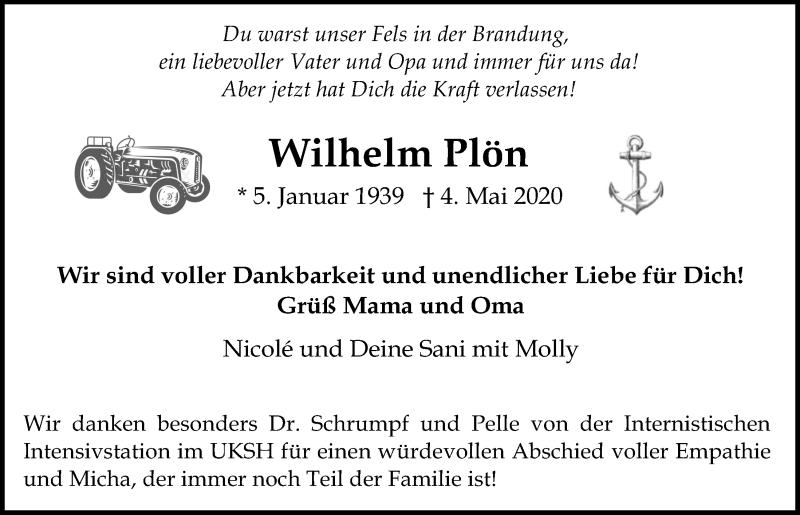 Traueranzeige für Wilhelm Plön vom 09.05.2020 aus Kieler Nachrichten