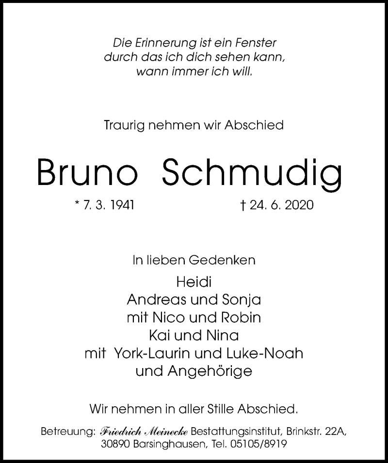 Traueranzeige für Bruno Schmudig vom 27.06.2020 aus Hannoversche Allgemeine Zeitung/Neue Presse