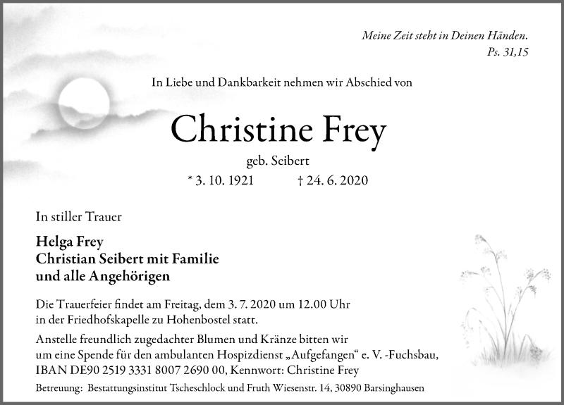 Traueranzeige für Christine Frey vom 27.06.2020 aus Hannoversche Allgemeine Zeitung/Neue Presse