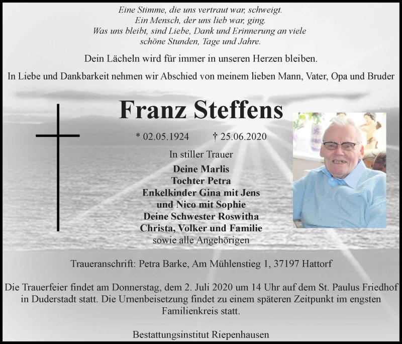 Traueranzeige für Franz Steffens vom 27.06.2020 aus Eichsfelder Tageblatt
