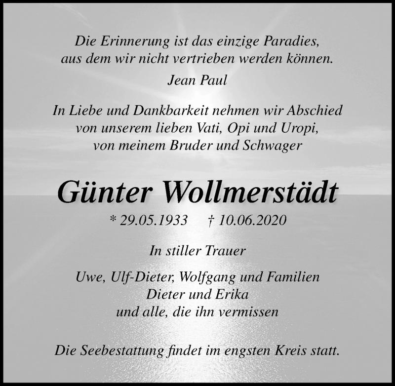 Traueranzeige für Günter Wollmerstädt vom 20.06.2020 aus Ostsee-Zeitung GmbH