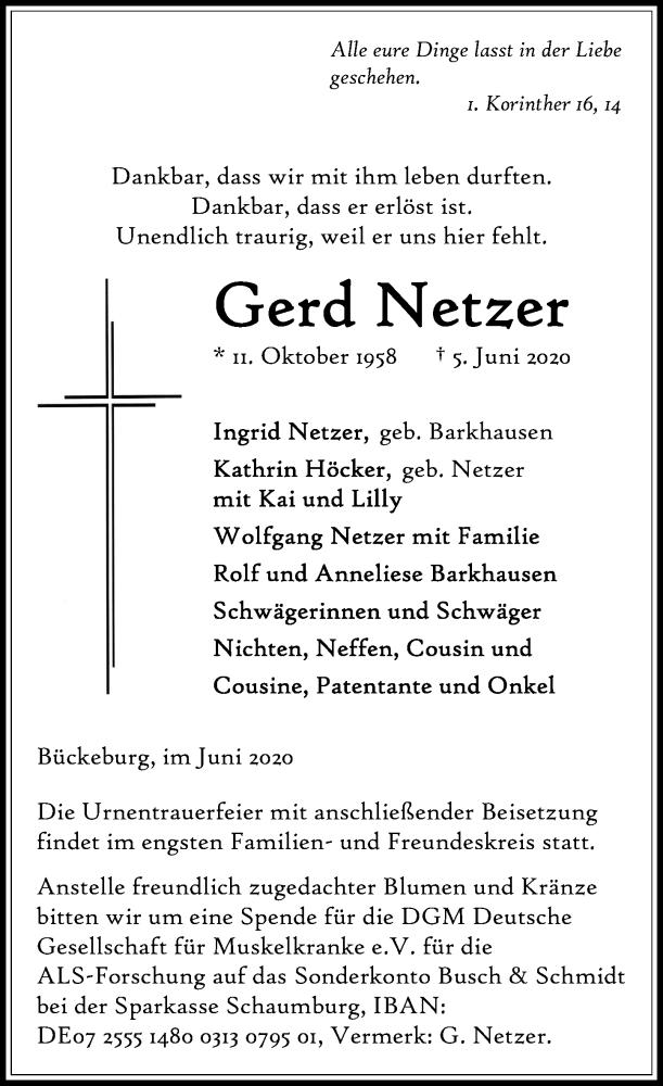Traueranzeige für Gerd Netzer vom 13.06.2020 aus Schaumburger Nachrichten