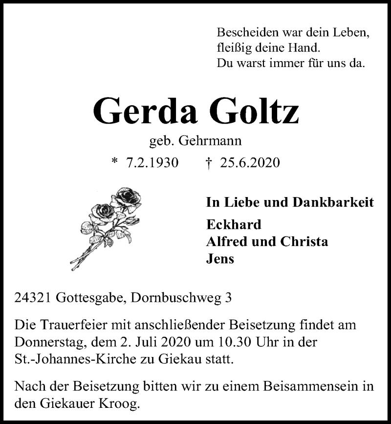 Traueranzeige für Gerda Goltz vom 27.06.2020 aus Kieler Nachrichten