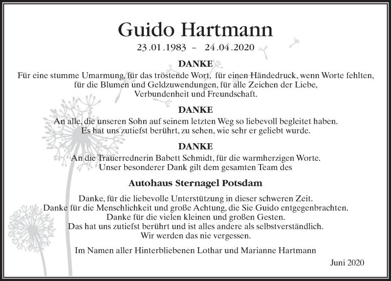 Traueranzeige für Guido Hartmann vom 20.06.2020 aus Märkischen Allgemeine Zeitung