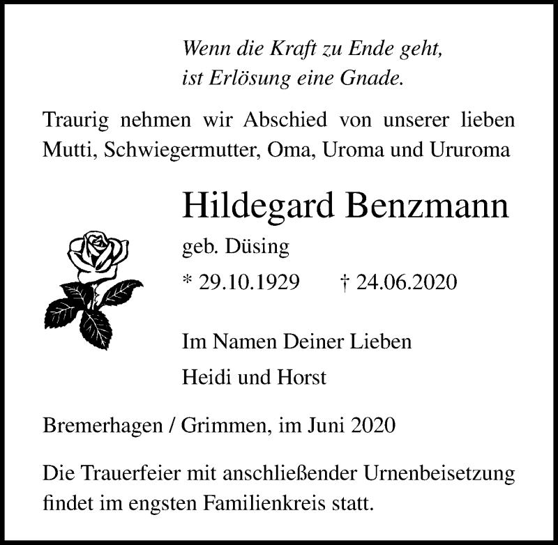 Traueranzeige für Hildegard Benzmann vom 27.06.2020 aus Ostsee-Zeitung GmbH