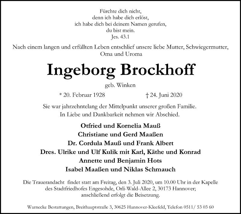 Traueranzeige für Ingeborg Brockhoff vom 27.06.2020 aus Hannoversche Allgemeine Zeitung/Neue Presse