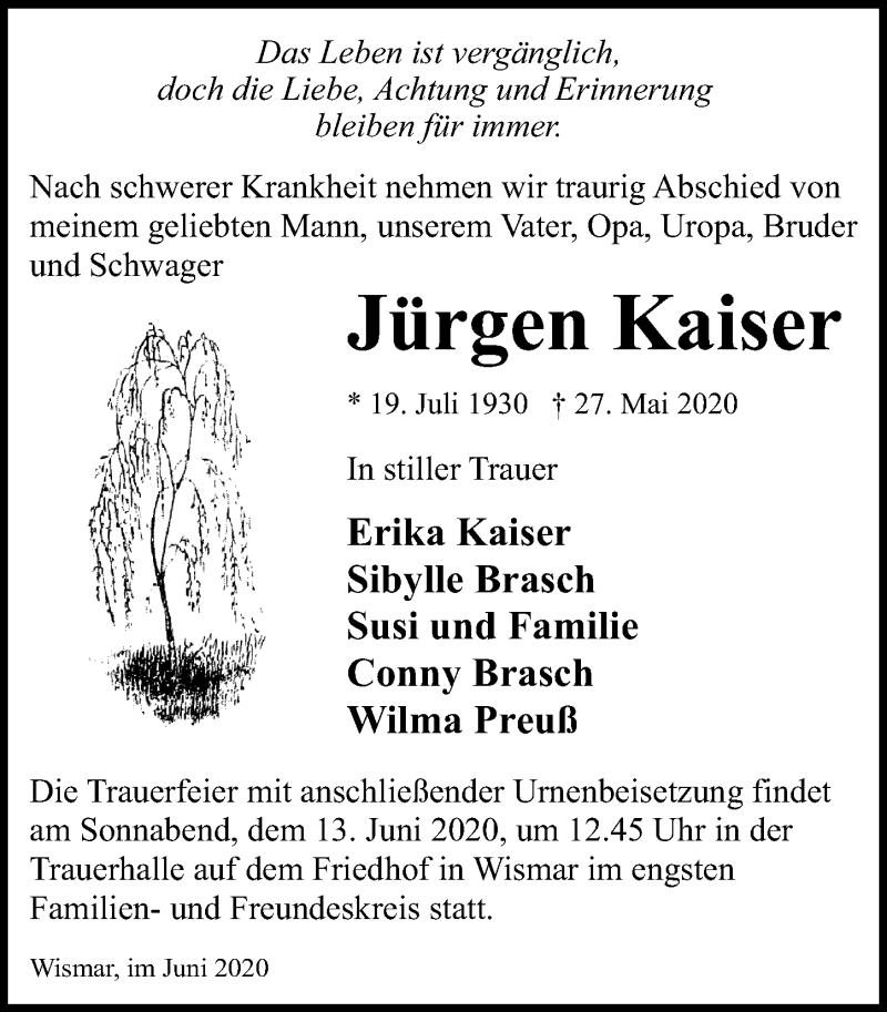 Traueranzeige für Jürgen Kaiser vom 06.06.2020 aus Ostsee-Zeitung GmbH