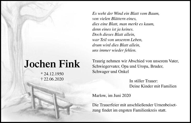 Traueranzeige für Jochen Fink vom 27.06.2020 aus Ostsee-Zeitung GmbH