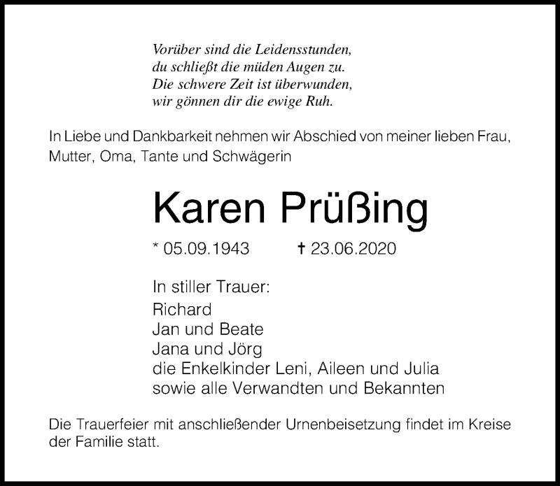 Traueranzeige für Karen Prüßing vom 27.06.2020 aus Ostsee-Zeitung GmbH