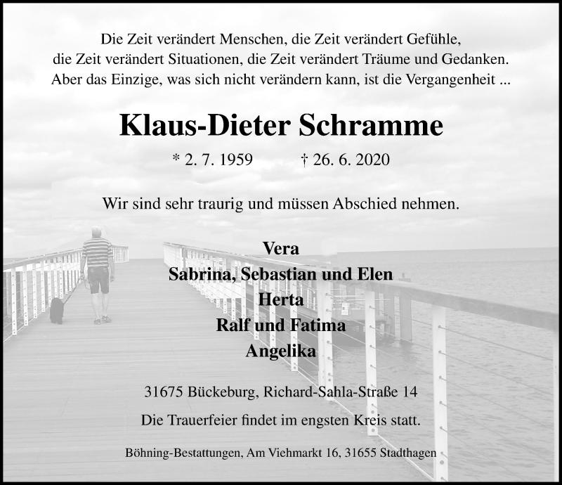Traueranzeige für Klaus-Dieter Schramme vom 30.06.2020 aus Schaumburger Nachrichten