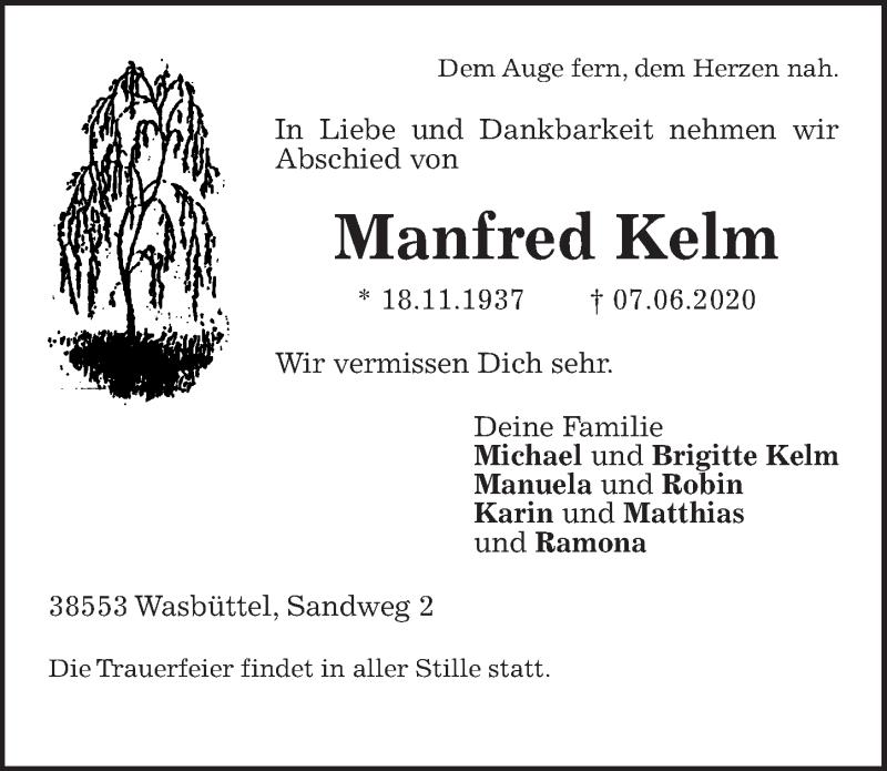 Traueranzeige für Manfred Kelm vom 11.06.2020 aus Aller Zeitung