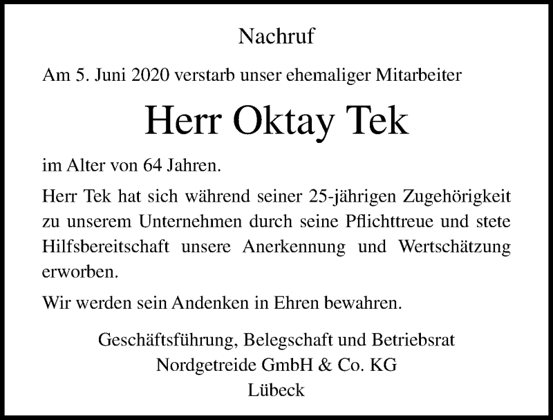 Traueranzeige für Oktay Tek vom 14.06.2020 aus Lübecker Nachrichten