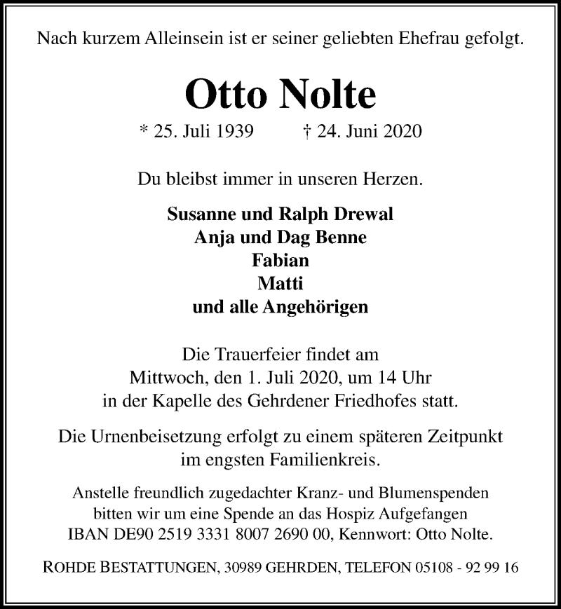 Traueranzeige für Otto Nolte vom 27.06.2020 aus Hannoversche Allgemeine Zeitung/Neue Presse