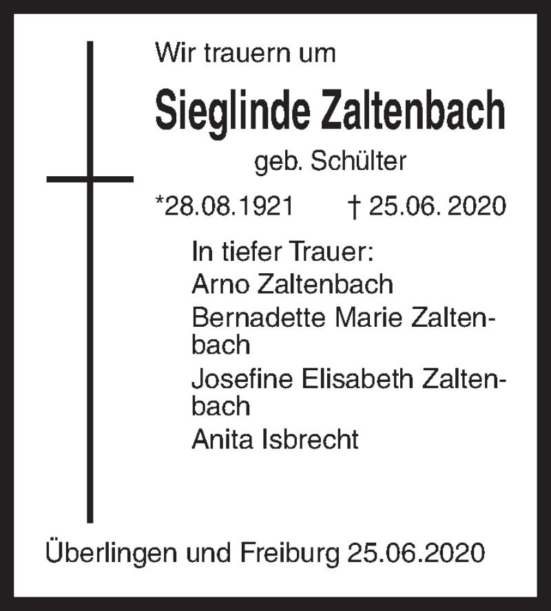 Traueranzeige für Sieglinde Zaltenbach vom 27.06.2020 aus Hannoversche Allgemeine Zeitung/Neue Presse