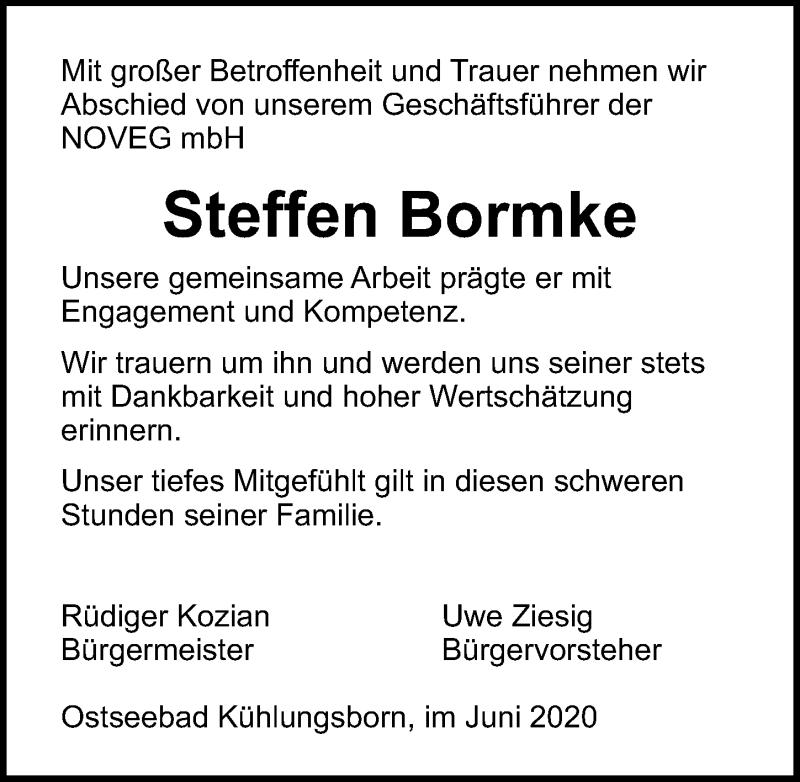Traueranzeige für Steffen Bormke vom 27.06.2020 aus Ostsee-Zeitung GmbH