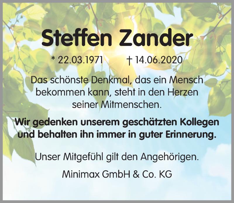 Traueranzeige für Steffen Zander vom 27.06.2020 aus Märkischen Allgemeine Zeitung